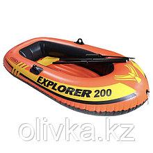 Лодка Explorer Pro 200, 2 местая, 196 х 102 х 33 см, вёсла, насос, от 6 лет, до 120 кг, 58357NP INTEX