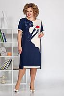 Женское летнее синее большого размера платье Ивелта плюс 1680 синий 48р.