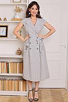 Женское летнее из вискозы серое платье Мода Юрс 2679 серый_полоска 48р.
