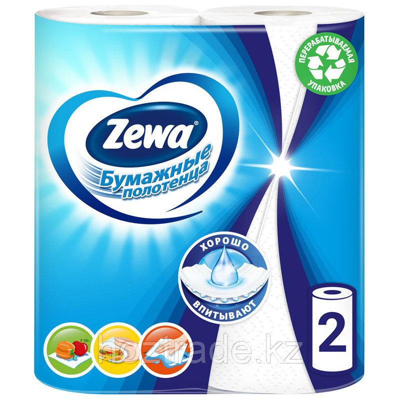 Полотенца бумажные в рулонах Zewa, 2-слойные, 15м/рул, тиснение, белые, 2шт.