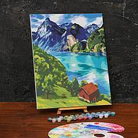 Картина по номерам на холсте с подрамником «Горное озеро» 40х50 см