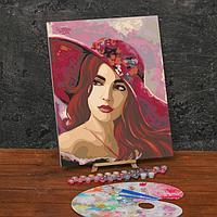 Картина по номерам на холсте с подрамником «Девушка в шляпе» 40х50 см