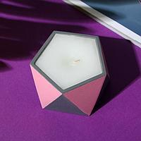 Свеча в подсвечнике (ручная работа) «Розовый и серый«, 8,5 х 5,5 см