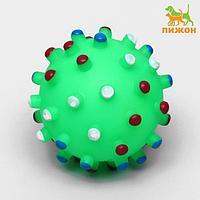 """Игрушка пищащая """"Бактерия"""" для собак, 6,3 см, зелёная"""