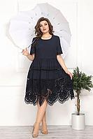 Женское летнее кружевное синее большого размера платье Solomeya Lux 807 синий 50р.