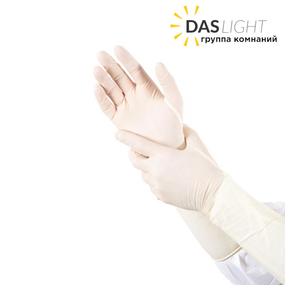 Перчатки медицинские латексные смотровые слегка опудренные. - фото 1