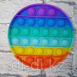 Pop it Fidget Сенсорная игрушка антистресс Вечная пупырка, круг радужный