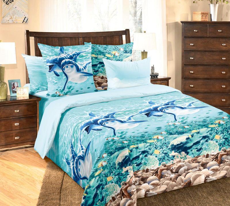 """Постельное бельё """"Дельфины"""", размер 2,0 спальный"""