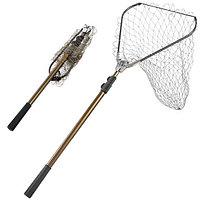 Подсак для рыбалки складной с телескопической ручкой треугольный от 100 до 262 см