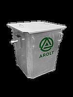 Оцинкованный нержавеющий мусорный контейнер для ТБО объемом 750 литров С крышкой, без колес