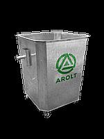 Оцинкованный нержавеющий мусорный контейнер для ТБО объемом 750 литров На поворотных колесах., без крышки