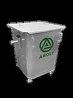 Оцинкованный нержавеющий мусорный контейнер для ТБО объемом 750 литров; На поворотных колесах., с крышкой
