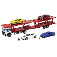 Игровой набор Автовоз с 4 спортивными машинами, Welly