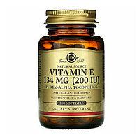 Витамин Е. Vitamin E, смесь токофероллов , 200 МЕ, 100 капсул Solgar