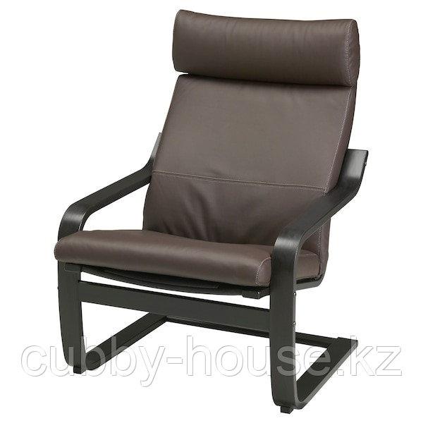 POÄNG ПОЭНГ Кресло, черно-коричневый/Глосе темно-коричневый