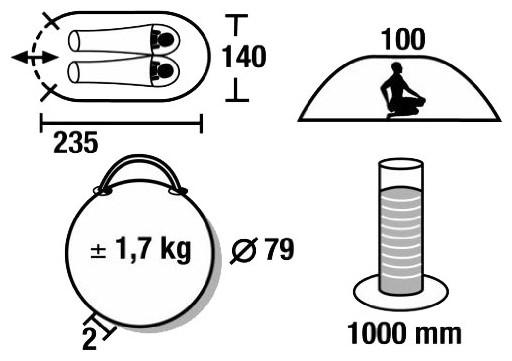 Палатка HIGH PEAK Мод. VISION 2 (2-x местн.)(235x140x100см)(1,90кГ)(нагрузка: 1.000мм) R89012 - фото 2