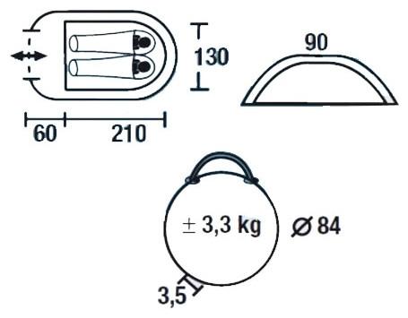 Палатка HIGH PEAK Мод. RAPALLO 2 (2-x местн.)(210+60x130x90см)(3,30кГ) (нагрузка: 2.000мм) R89013 - фото 2