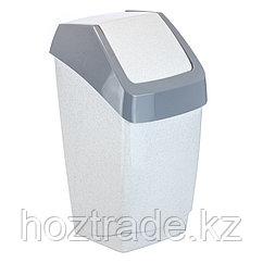 """Ведро-контейнер для мусора (урна) Idea """"Хапс"""", 15л, качающаяся крышка, пластик, мраморный"""