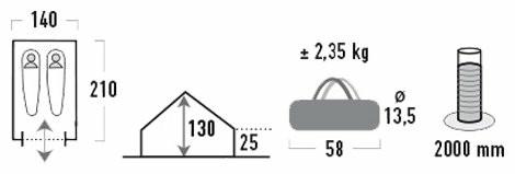 Палатка HIGH PEAK Мод. SCOUT 2 (2-x местн.)(210x140x130см)(2,50кГ)(нагрузка: 2.000мм)(синий/серый) R89021 - фото 2