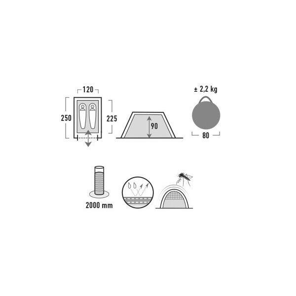 Палатка HIGH PEAK Мод. BOSTON 2 (2-x местн.)(250х120x90см)(2,20кГ)(нагрузка: 2.000мм)(светло-серый) R89067 - фото 2