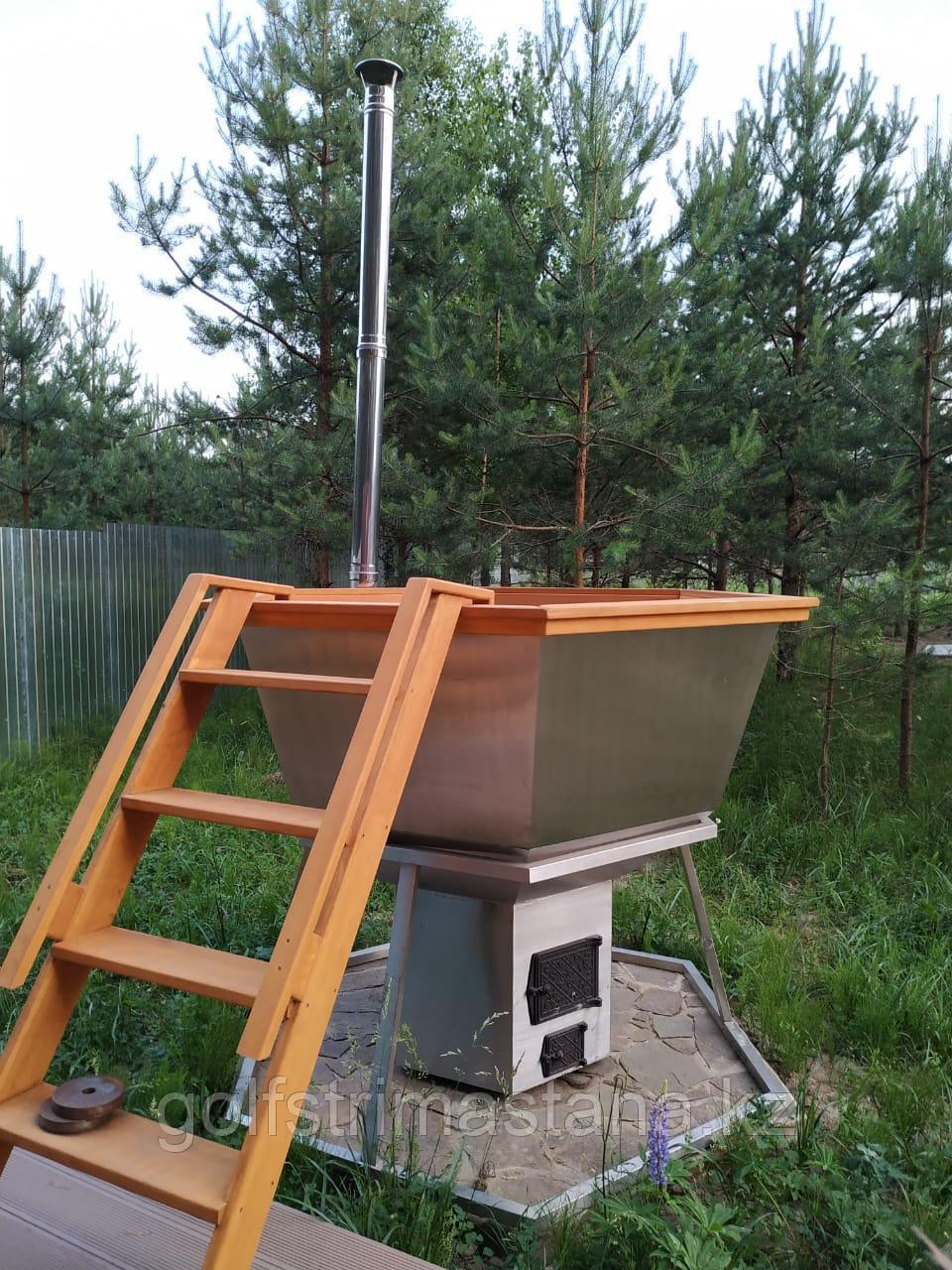 Сибирский Банный Чан, (в*д: 110*165/0,2 см., AISI-304), на подставке, + печь