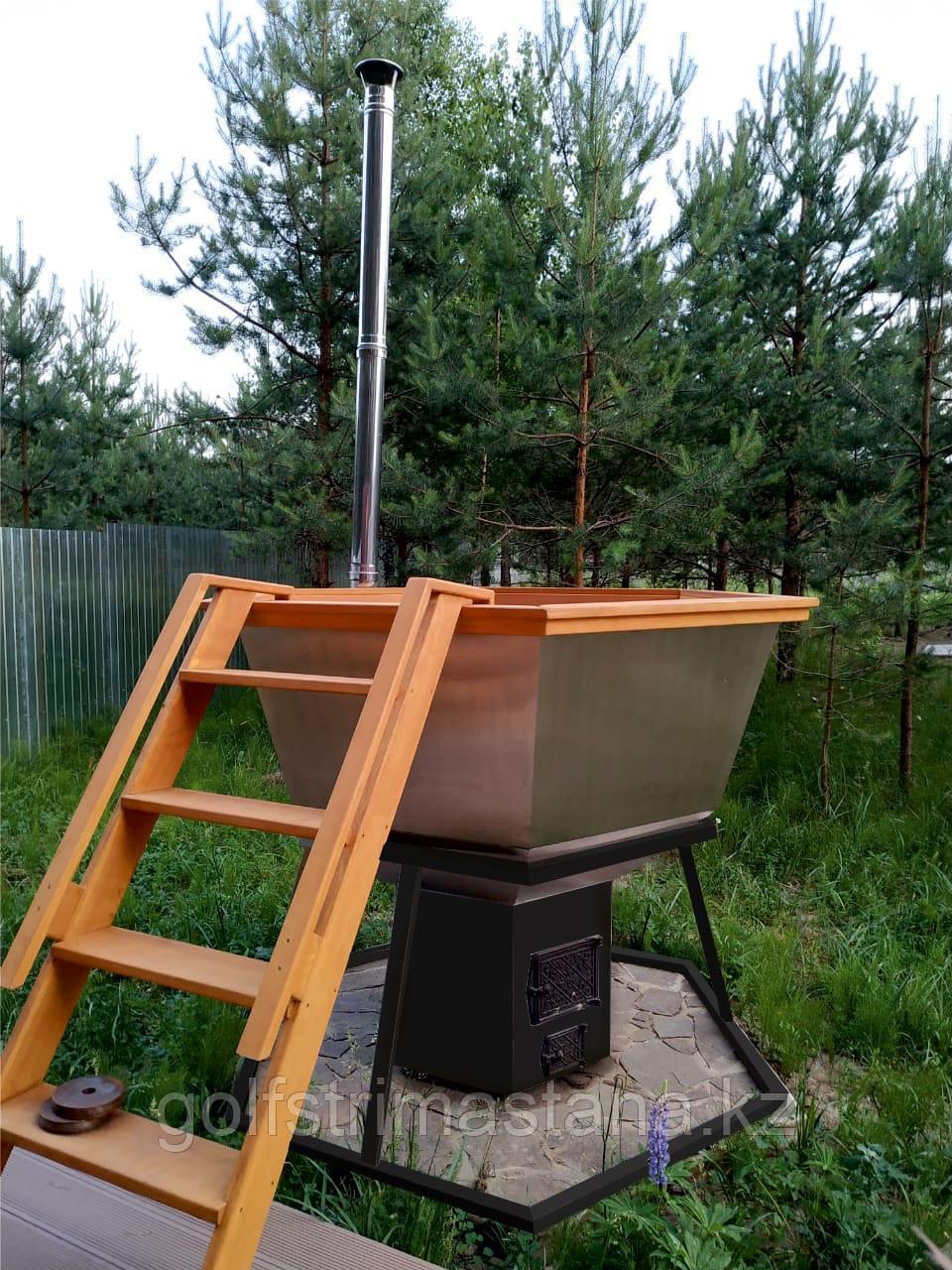 Сибирский Банный Чан, (в*д: 110*165/0,3 см., AISI-304), на подставке, + печь