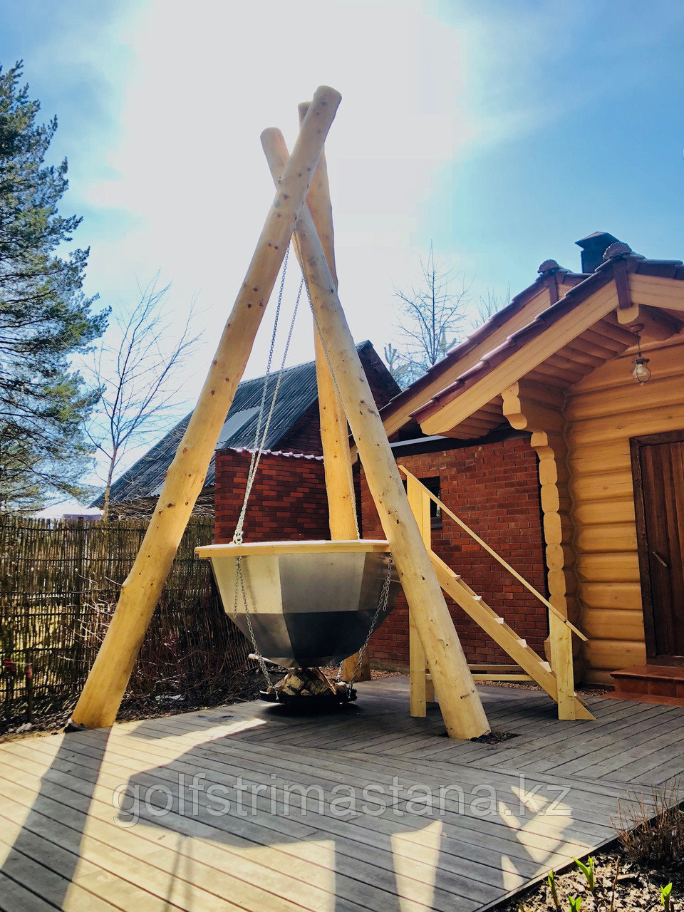 Сибирский Банный Чан, (в*д: 110*165/0,3 см., AISI-304), На бревнах, без печи