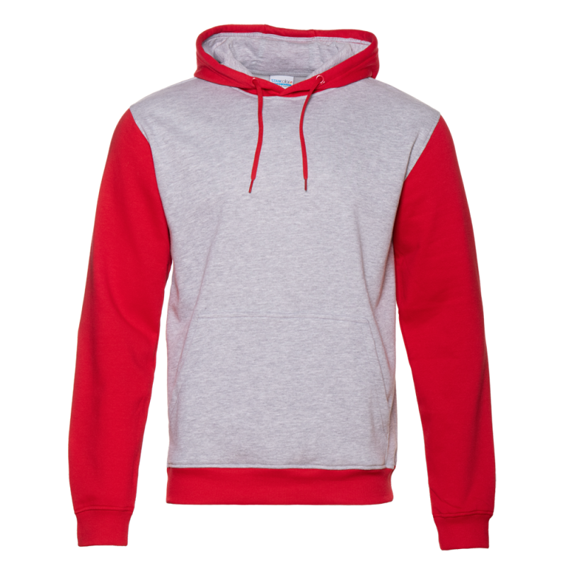 Толстовка 20_Серый меланж - Красный (50/14)  (XL/52)