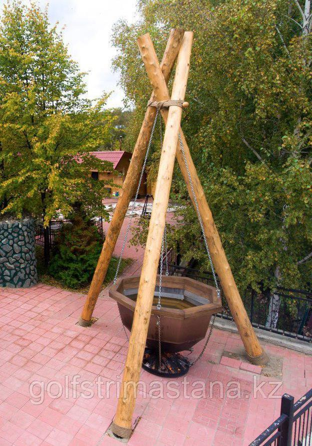 Сибирский Банный Чан, (в*д: 110*185/0,2 см., AISI-304), На бревнах, без печи