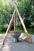 Сибирский Банный Чан, (в*д: 110*185/0,3 см., AISI-304), На бревнах, + печь