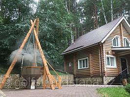Сибирский Банный Чан, (в*д: 110*185/0,2 см., AISI-304), На бревнах, + печь, Окрашенный