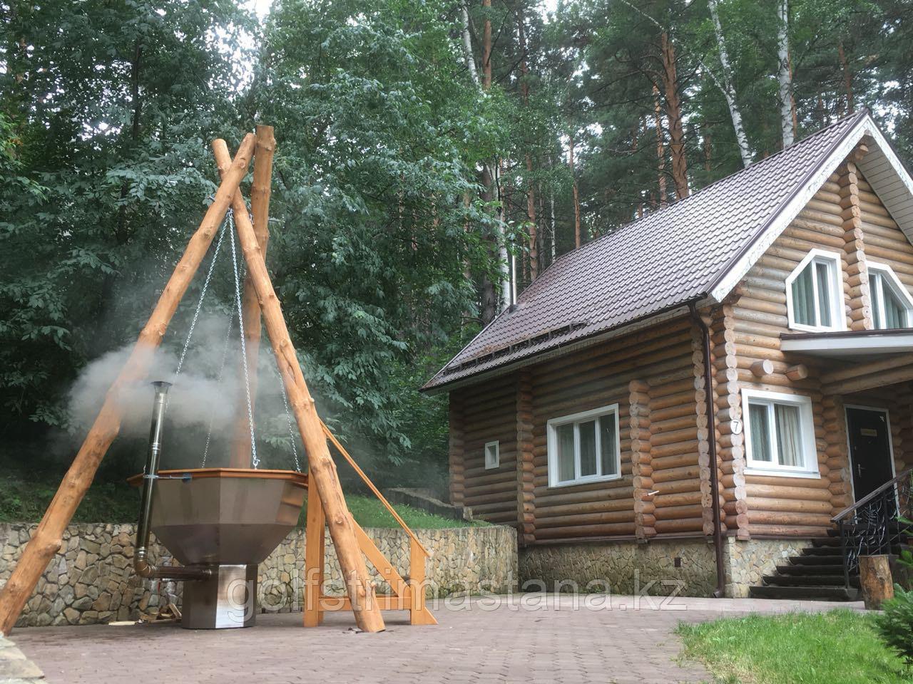 Сибирский Банный Чан, (в*д: 110*185/0,3 см., AISI-304), На бревнах, + печь, Окрашенный