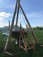 Сибирский Банный Чан, (в*д: 110*225/0,3 см., AISI-304), На бревнах, + печь