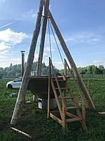 Сибирский Банный Чан, (в*д: 110*225/0,2 см., AISI-304), На бревнах, + печь