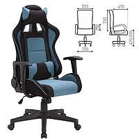 """Кресло игровое BRABIX """"GT Racer GM-100"""", две подушки, ткань, черное/голубое"""