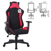 """Кресло игровое BRABIX """"GT Racer GM-101"""", подушка, ткань, черное/красное"""