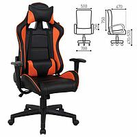"""Кресло игровое BRABIX """"GT Racer GM-100"""", две подушки, экокожа, черное/оранжевое, 531925 54484"""