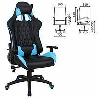 """Кресло игровое BRABIX """"GT Master GM-110"""", две подушки, экокожа, черное/голубое, 531928 544849"""