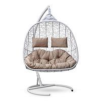 "Подвесное кресло-кокон с подушкой ""SEVILLA TWIN"" белое, бежевая подушка, стойка, 115х120х195см 6894 ..."