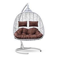 """Подвесное кресло-кокон с подушкой """"SEVILLA TWIN"""" белое, коричневая подушка, стойка, 115х120х195см"""