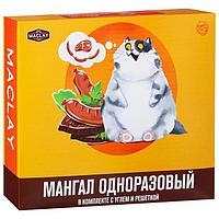 Мангал одноразовый в комплекте с углём и решёткой «Кот»
