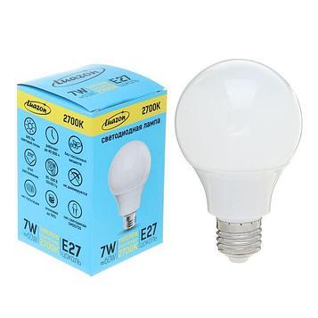 Лампа светодиодная Luazon Lighting, А60, 7 Вт, E27, 2700 К, AL радиатор, теплый белый