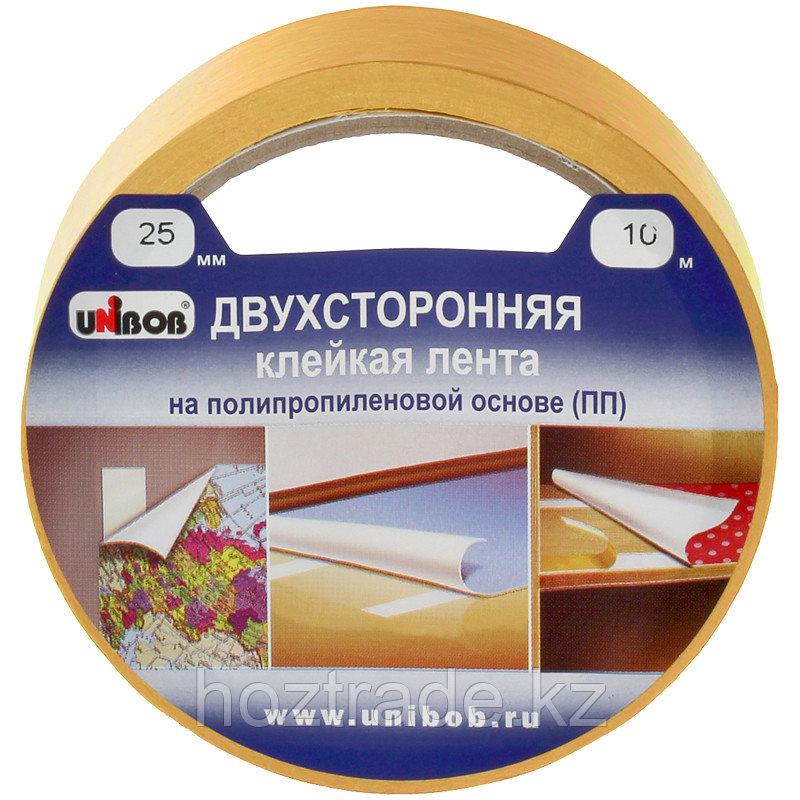 Клейкая лента двусторонняя Unibob, 25мм*10м, полипропилен, инд. упаковка