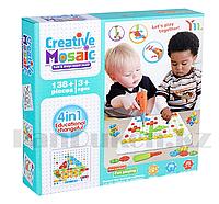 Набор для творчества конструктор мозаика с шуруповертом 4 в 1 Creative Mosaic 138+ деталей YM005