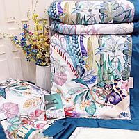 Комплект постельного белья двуспальный из сатина с тропическими растениями и лемурами
