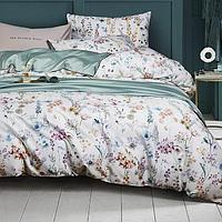 Комплект постельного белья двуспальный из сатина с цветочным принтом