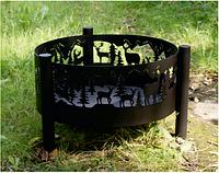 Чаша для костра с художественным сюжетом на ножках (на стенках чаши)