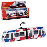 Трамвай металлический с гармошкой, 19 см, инерционный, двери открываются