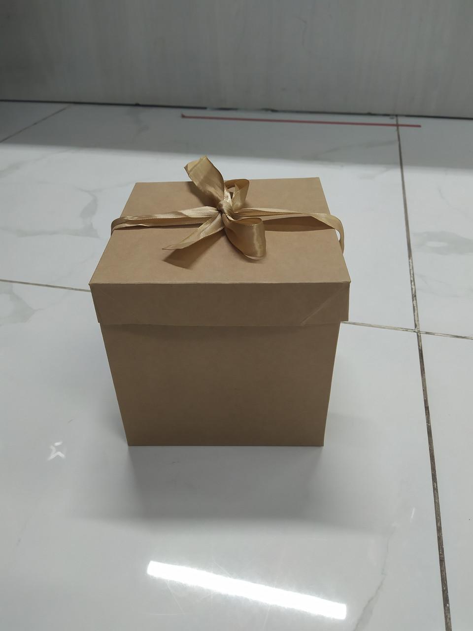 Подарочный бокс крафтовый  10*10*10см
