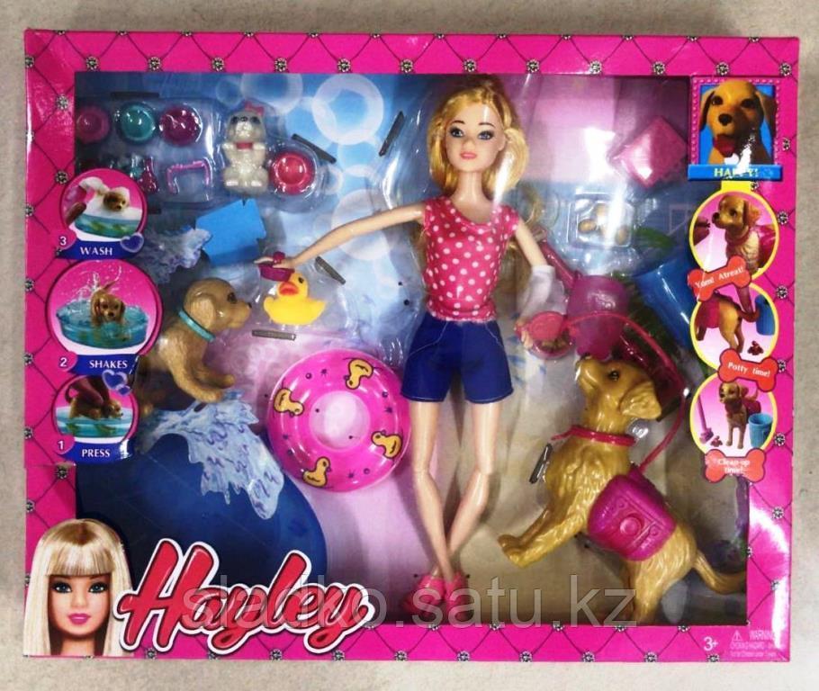 Кукла Hayley Барби набор уход за любимцами 3 собачки - фото 1